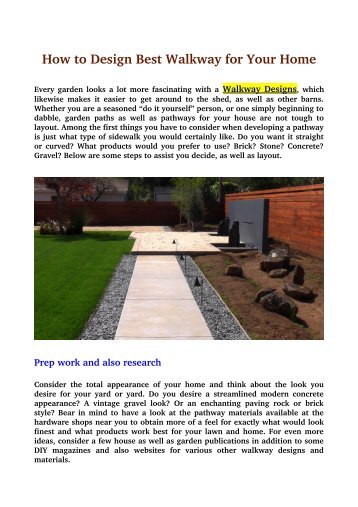 How to Design Best Walkway for Your Home