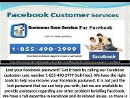 Dial 1-855-490-2999 Facebook Customer Support Phone Number To Deal With The Problems