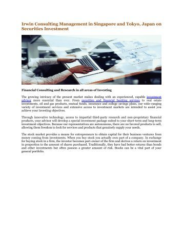 Irwin Consulting Management in Singapore and Tokyo, Japan on Securities Investment