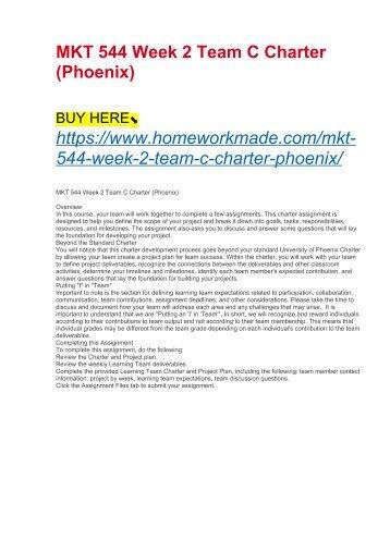 MKT 544 Week 2 Team C Charter (Phoenix)