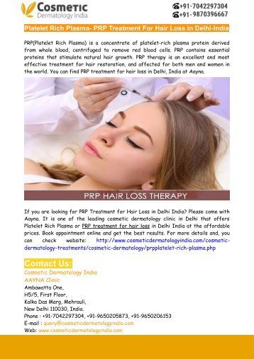 PRP For Hair Loss Treatment In Delhi-India