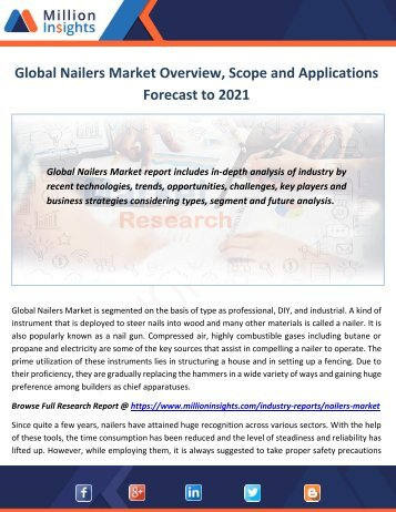 Global Nailers Market Overview, Scope and Applications Forecast to 2021