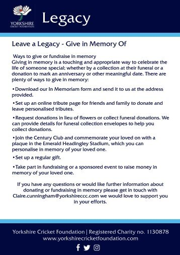 Leave a Legacy- Give In Memory Of
