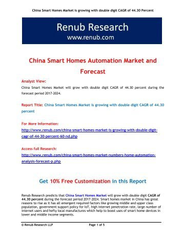 China Smart Homes Market is growing with double digit CAGR of 44.30 percent