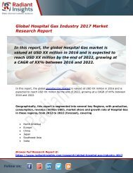 Hospital Gas Market Size, Share, Trends, Analysis and Forecast Report to 2022:Radiant Insights, Inc