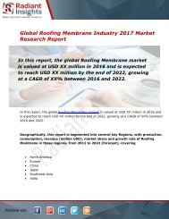 Roofing Membrane Market Size, Share, Trends, Analysis and Forecast Report to 2022:Radiant Insights, Inc