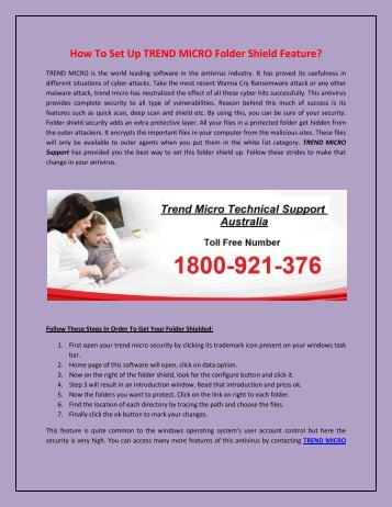 How To Set Up TREND MICRO Folder Shield Feature?