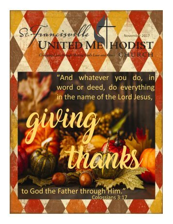 St. Francisville UMC November 2017 Newsletter