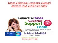 Yahoo Technical Customer Support Number USA 1877-503-0107