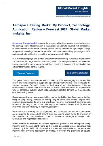 Aerospace Fairing Market analysis research and trends report for 2017-2024