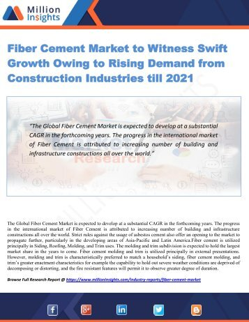 Fiber Cement Market to Witness Swift Growth Owing to Rising Demand from Construction Industries till 2021