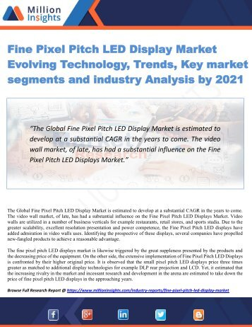 Fine Pixel Pitch LED Display Market Evolving Technology, Trends, Key market segments and industry Analysis by 2021