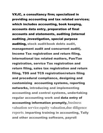 VXJC,international tax, income tax, business valuation, due diligence,trademark registration, copyright registration, patent registration, design ,law, accounting, gst ,audit,,project reports. company registration,trust registration,consultants