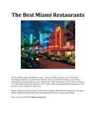 The Best Miami Restaurants