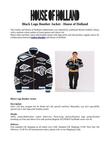 Black Logo Bomber Jacket - House of Holland