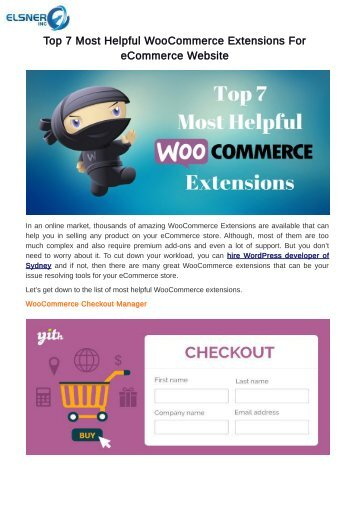 Top 7 Most Helpful WooCommerce Extensions For eCommerce Website