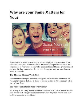 Why are your Smile Matters for You