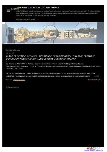 ABEL PRESS Periodismo y Critica Editorial Sin Censura a GIG Desarrollos Inmobiliarios y La Rioja Tijuana Por Proteger a Golpeadores