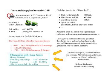 Veranstaltungsplan November 2011 - AWO Chemnitz