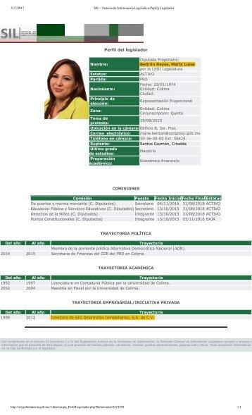 Maria Beltran - Diputada Federal PRD PLURINOMINAL por Colima - Empleada de GIG DESARROLLOS INMOBILIARIOS POR 13 AÑOS -  BANCADA DEL CLAN GOMEZ FLORES