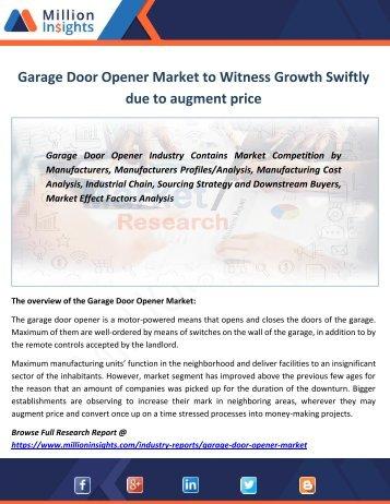 Garage Door Opener Market to Witness Growth Swiftly due to augment price