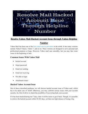 Get the Solution for Hacked Yahoo Mail Account
