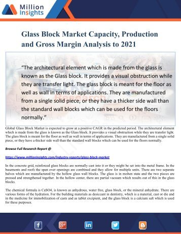 Glass Block Market Capacity, Production and Gross Margin Analysis to 2021