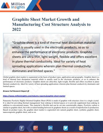 Graphite Sheet Market Growth and Manufacturing Cost Structure Analysis to 2022