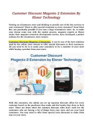 Customer Discount Magento 2 Extension By Elsner Technology