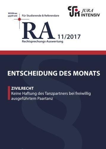 RA 11/2017 - Entscheidung des Monats