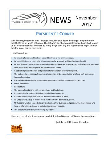 November 2017 FRC Member Newsletter