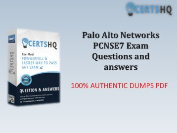 Up-to-date PCNSE7 Exam PDF Practice Exam Questions