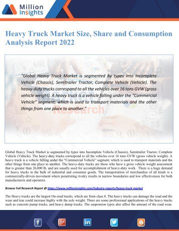Heavy Truck Market Size, Share and Consumption Analysis Report 2022