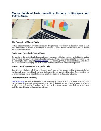 Mutual Funds of Irwin Consulting Planning in Singapore and Tokyo, Japan
