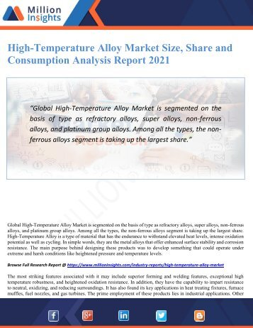 High-Temperature Alloy Market Size, Share and Consumption Analysis Report 2021