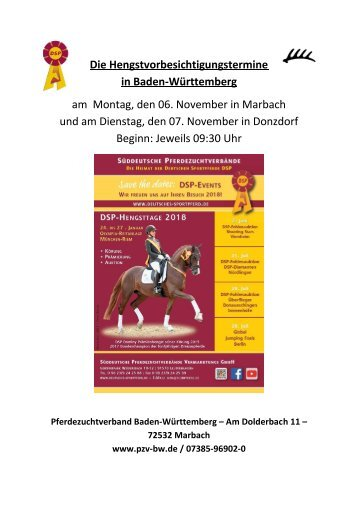 Katalog Hengstvorbesichtigungen Marbach/Donzdorf 2017 Ba-Wü