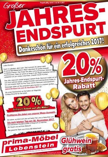 Großer Jahres-Endspurt: 20% Rabatt bei Prima-SB Möbel in 07356 Bad Lobenstein