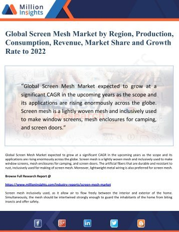 Global Screen Mesh Market by Region, Production, Consumption, Revenue, Market Share and Growth Rate to 2022