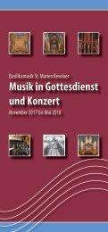 Musik in Gottesdienst und Konzert November 2017 - Mai 2018