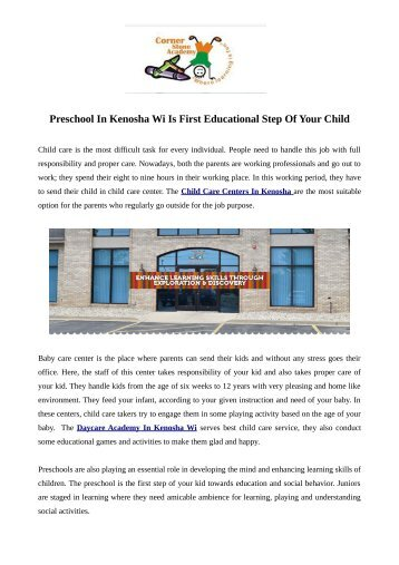 Preschool In Kenosha Wi Is First Educational Step Of Your Child
