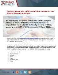 Energy and Utility Analytics Market Size, Share, Trends, Analysis and Forecast Report to 2022:Radiant Insights, Inc