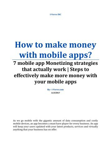 How to make money with your mobile application