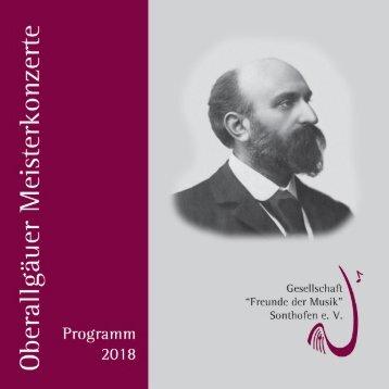 Oberallgäuer Meisterkonzerte Programm 2018