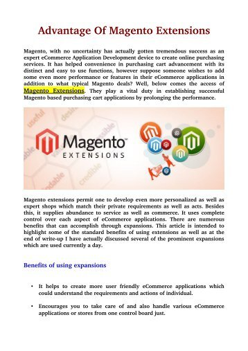 Advantage Of Magento Extensions