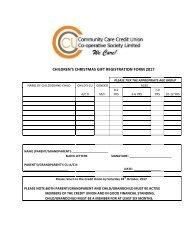 Children Christmas Gift Registration Form 2017