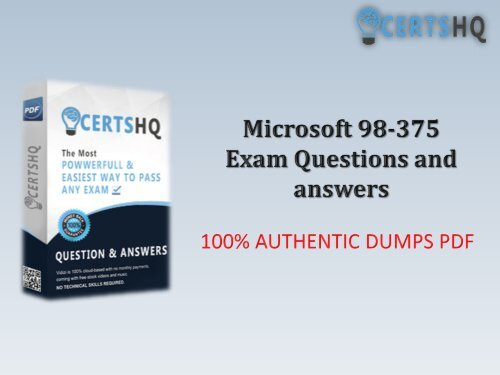 New 98-375 PDF Practice Exam Questions with Free Updates