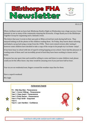 BFHA - Newsletter 6  02.11.17