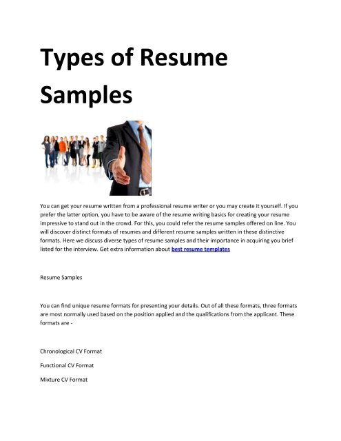 6 Resume Format For Job