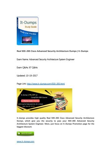 [2017 New] Advanced Security Architecture Specialization 500-265 ASASE Real Dumps