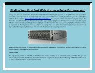 Finding Your First Best Web Hosting – Being Entrepreneur